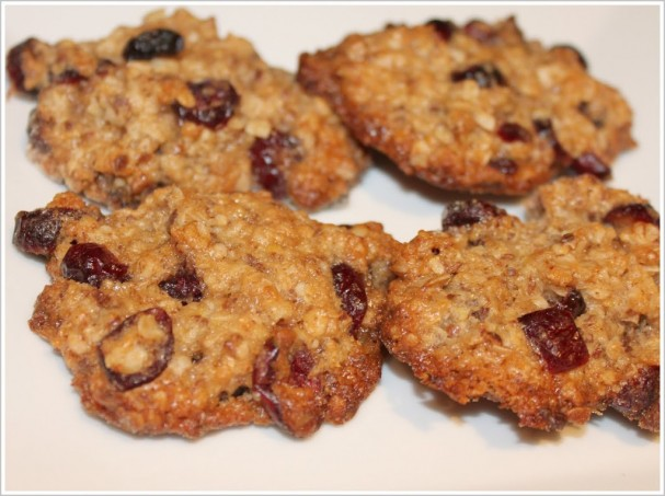Oatmeal cranberry cookies on a white plate