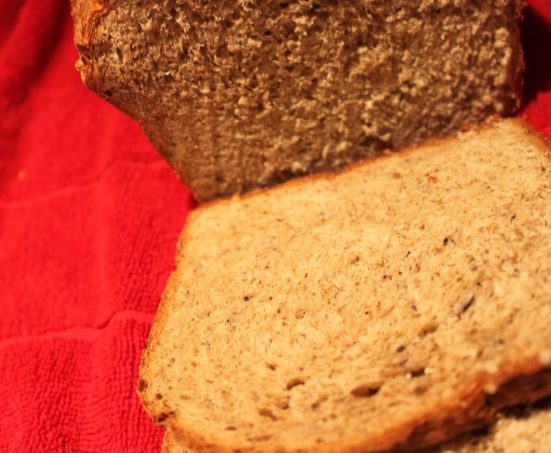 An apple and blueberry wheat loaf on a red work surface