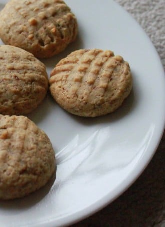 Almond butter cookies served on a white plate