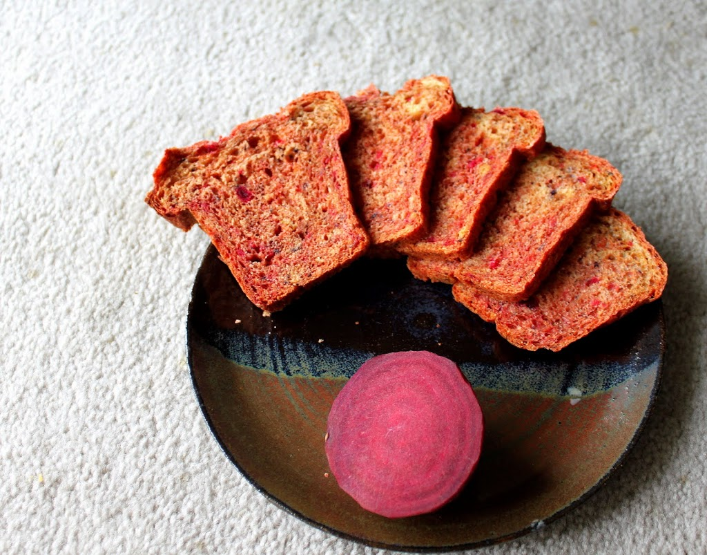 Beet and blueberry mini loaf. A delicious, brightly colored mini loaf that's great for breakfast or snacking on. Vegan Recipe. #veganricha #vegan
