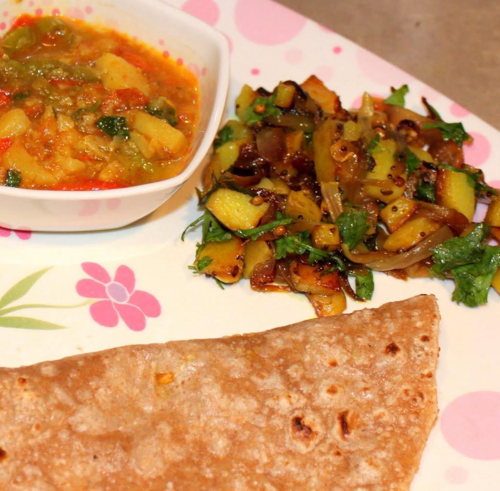 Aloo Pyaaz and Bhaji with Roti/Chapati (spiced potato onion vegetable stew with Indian bread). So delicious served as a main course. Vegan Recipe. #veganricha #vegan