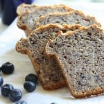 Slices of Multigrain Multifruit Mini Loaf on a white plate with some blueberries
