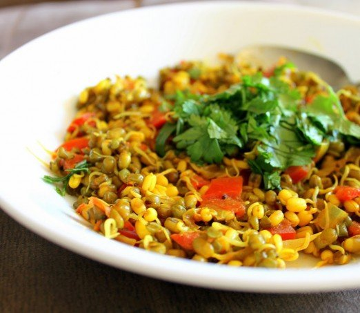 Mung Bean Sprouts sauteed with spices. Vegan Glutenfree Breakfast