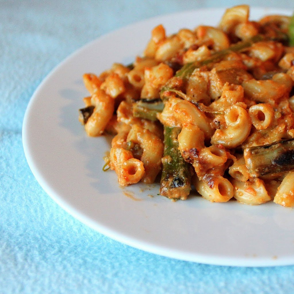 A simple and quick fun meal! Red pepper alfredo sauce made using either cashews or silken tofu, with some spices and veggies. Vegan Recipe. #veganricha #vegan