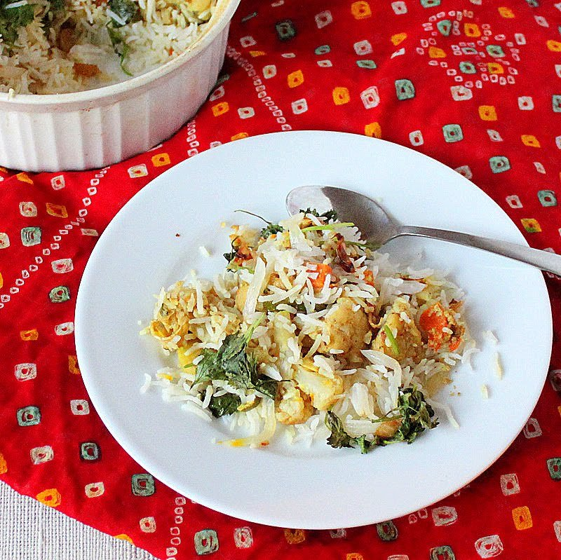 Layered Rice and Veggies with Spices. A delicious and flavorful dish. Soy Free, Gluten Free and Vegan Recipe. #glutenfree #veganricha #vegan