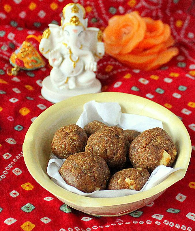 Besan Laddoo (Sweet Chickpea Flour Balls with Cashew and Raisins) Indian Sweet. Gluten Free, Soy Free and Vegan Recipe. #glutenfree #veganricha #vegan