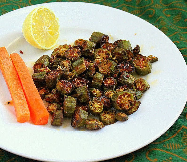 Crisp Okra with Indian Pickle Spices. Achari Bhindi. A simple fun and super yummy crisp bhindi with pickle spices. Vegan and Gluten Free Recipe. #glutenfree #veganricha #vegan