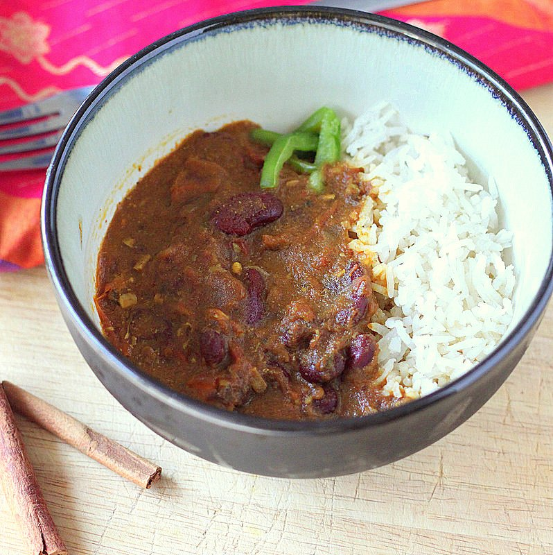 Quick Rajma (Red Kidney bean curry). Indian curried Kidney Beans with spices. Rajma Masala Recipe. Vegan Gluten-free soy-free | VeganRicha.com