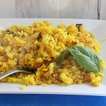 Breakfast Poha (Flattened Rice Flakes with Veggies and Nuts) Vegan, Glutenfree