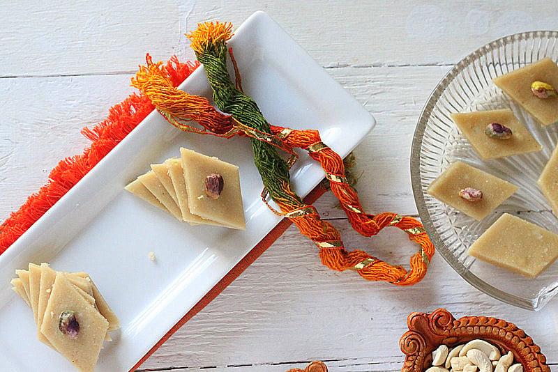 Vegan Kaju Katli - 20 minute Indian Cashew Fudge . Soft fudgy Cardamom Cashew Burfi Vegan Gluten-free Indian Recipe | VeganRicha.com