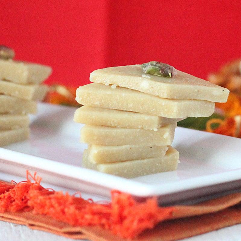 Kaju Katli - 20 minute Indian Cashew Fudge . Soft fudgy Cardamom Cashew Burfi Vegan Gluten-free Indian Recipe | VeganRicha.com