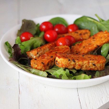 Maple glazed Tempeh, cherry tomatoes and baby greens Salad. vegan, glutenfree