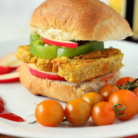 Tempeh Chickpea Fritter Patty Burger. Vegan
