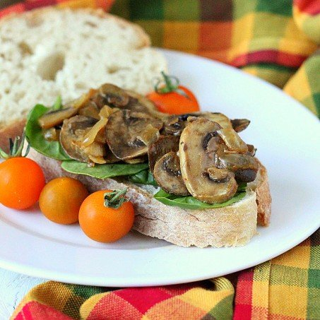 Mushroom onion saute on thick bread with a tomato garnish