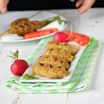 Tempeh Seekh Kebabs on a white serving plate with vegetable garnishes