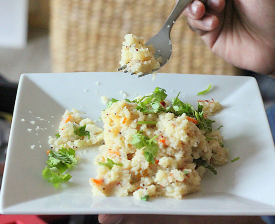 Upma. Savory cream of wheat/rice with nuts and veggies. Vegan breakfast.glutenfree option