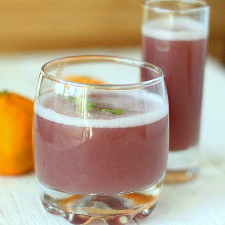 Pomegranate Apple Satsuma Spiced Cooler served in a small glass