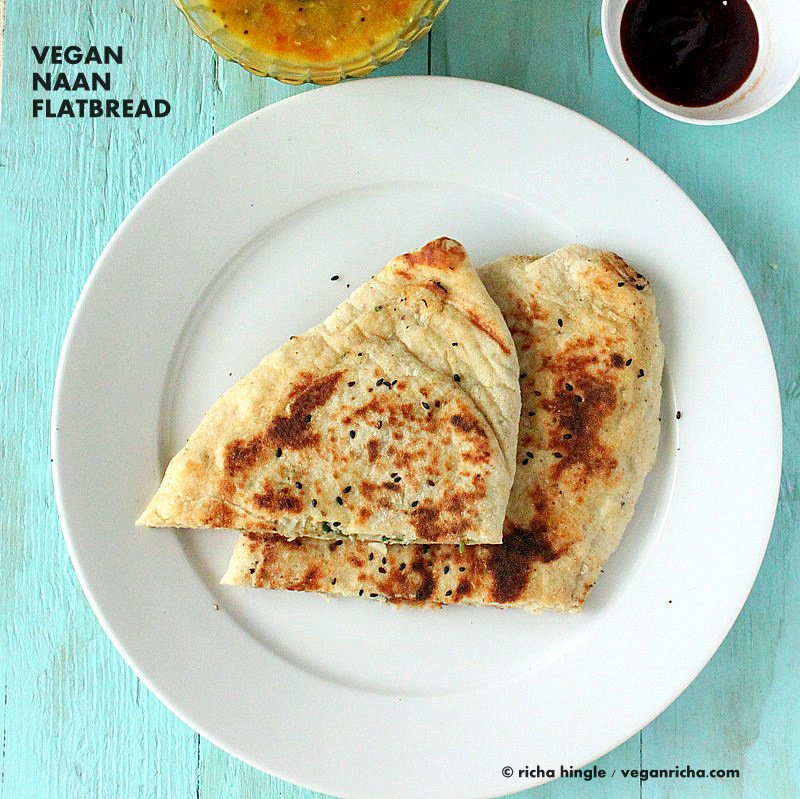 Vegan Naan Recipe. This is a super puffy soft Vegan Naan flatbread. Make plain Naans, Garlic Naans or Avocado Naan or stuffed. Bake it in an oven or cook on stove top. Cauliflower Stuffed Naan. is like a paratha calzone. Dairy-free Indian flat bread Recipe VeganRicha.com