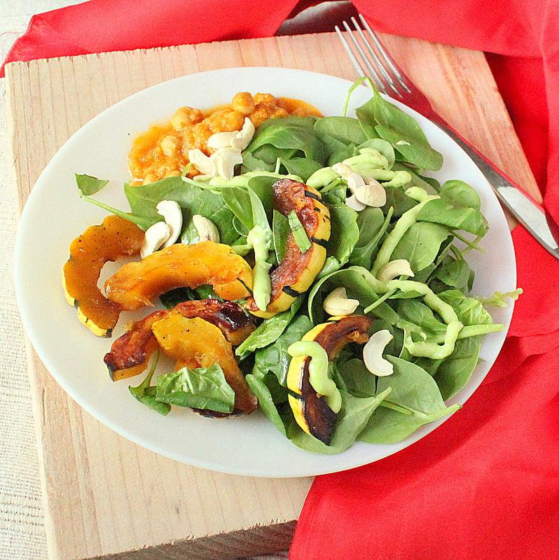 Maple Glazed Delicata Squash, Cashews, Baby Spinach Salad With Creamy Wasabi Dressing. #glutenfree #veganricha #vegan