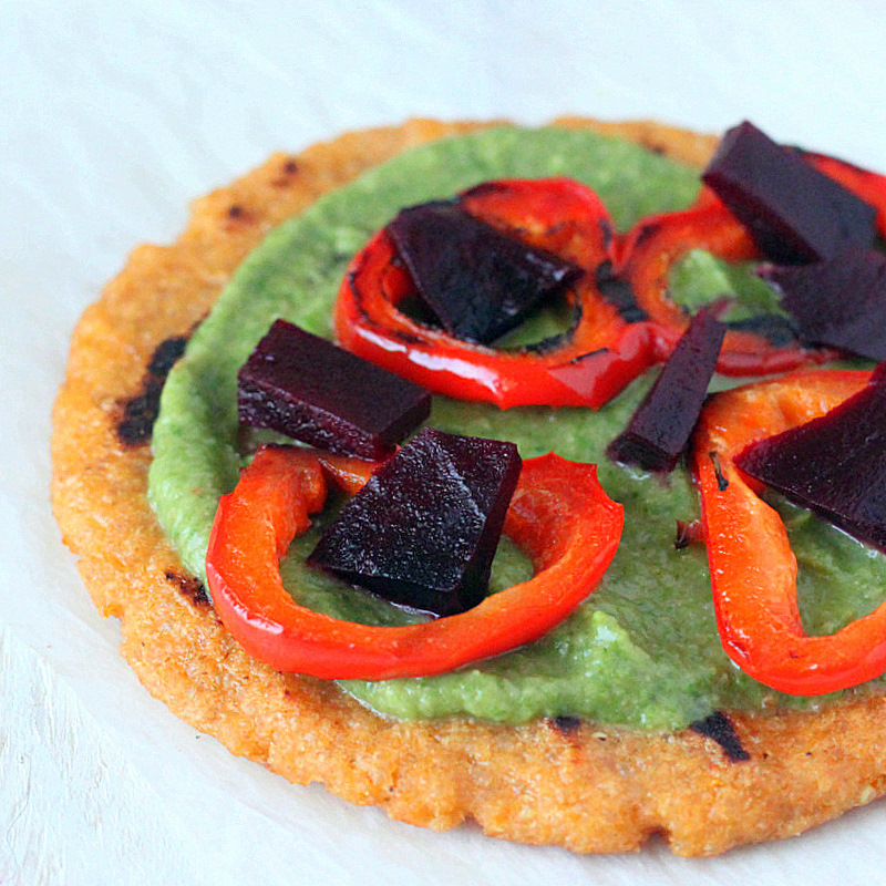 Quinoa Oat Flat bread Mini Pizza with Spinach hummus, Roasted Beets ...