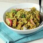Fusilli with Broccoli and Basil pesto and Red radish. vegan
