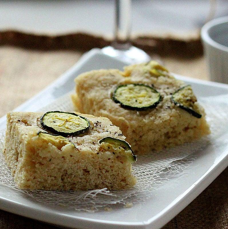 Zucchini Basil focaccia. Gluten free Gum free focaccia Bread Recipe | Vegan Richa