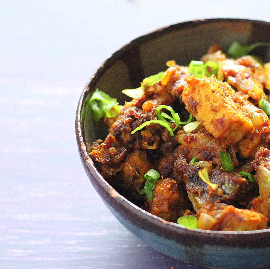 Amazing Keralan Tempeh Chili Roast. Vegan version of Kerala Beef/Chicken Chili Roast. Spicy flavorful Indian Main. Vegan Gluten-free Nut-free Recipe.   VeganRicha.com #veganricha