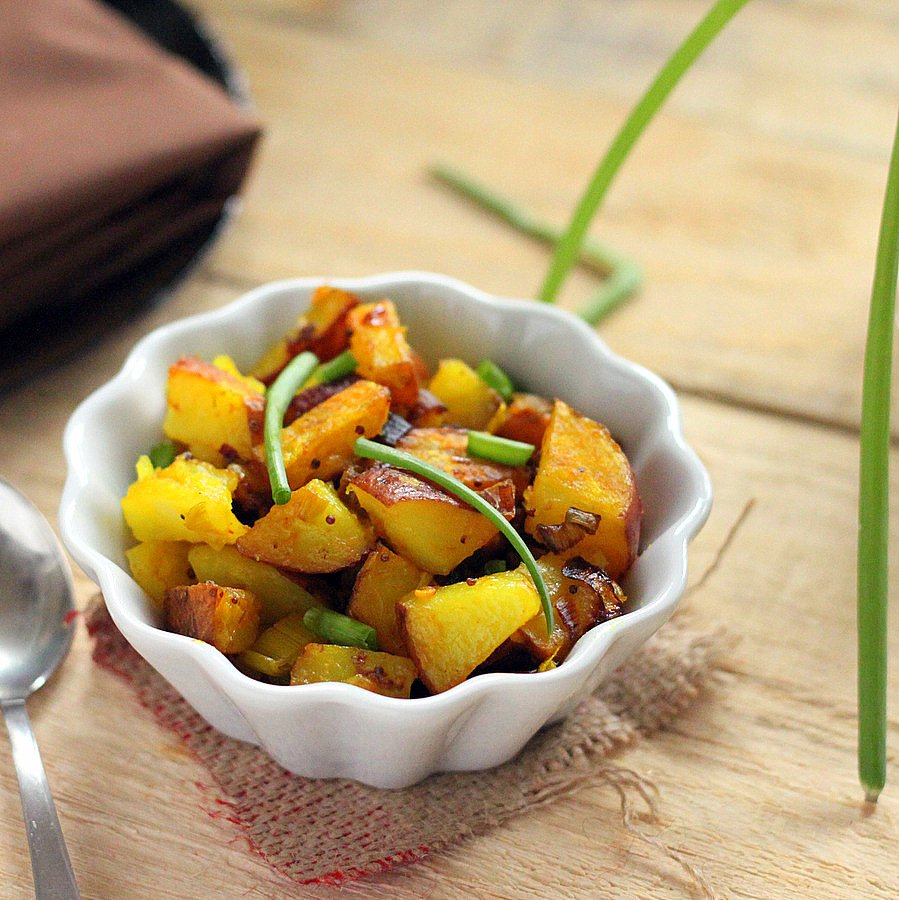 Potato Leek Subzi with fennel and mustard seed | Vegan Richa