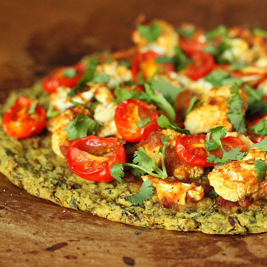 Chickpea Quinoa Chard Pizza topped with Roasted Cauliflower and grape ...
