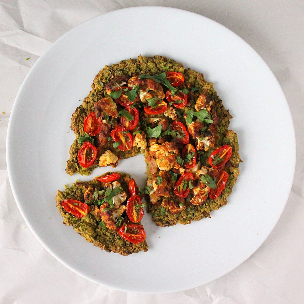 Quinoa Chard Pizza topped with Roasted Cauliflower and grape tomatoes ...