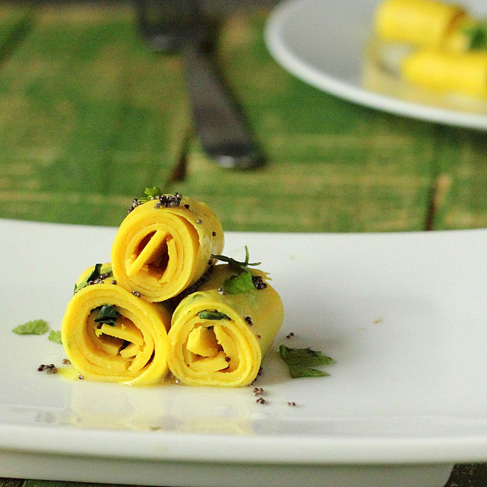 khandvi - vegan chickpea noodle snacks