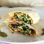 Chard Cauliflower Carrot Wraps with Mint Thyme Tomato Chutney for a Virtual Potluck. Vegan