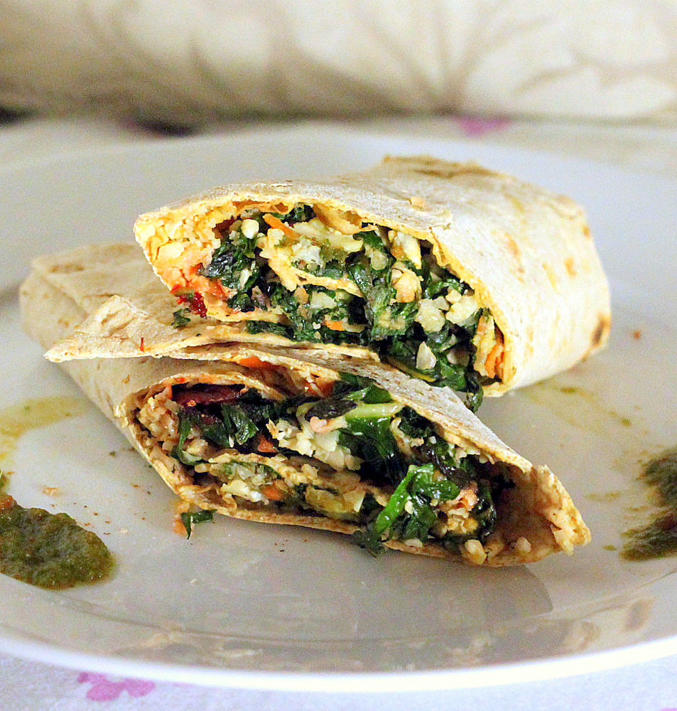 Chard Cauliflower Carrot Wraps