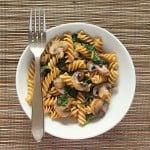 Pasta BlogHop: Whole Grain Fusilli with browned Mushrooms and Spinach. vegan