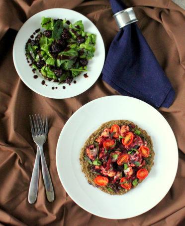 Vegan Chopped: Black-eyed Pea Pizza crust, Blackberry Tomato chutney w/ Cauliflower, and Spinach Blackberry Mint Salad. Glutenfree, recipe