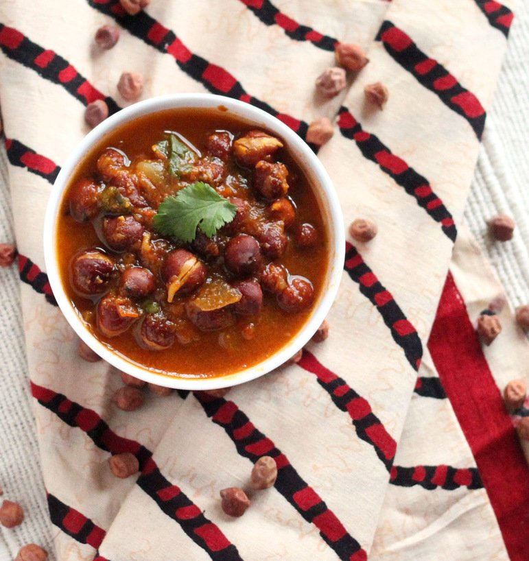 Kala Chana masala - Sprouted Brown chickpea curry