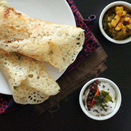 Gluten free Rava Dosa (Quick Indian Rice flour crepes) with Potato masala and coconut chutney. vegan recipe.