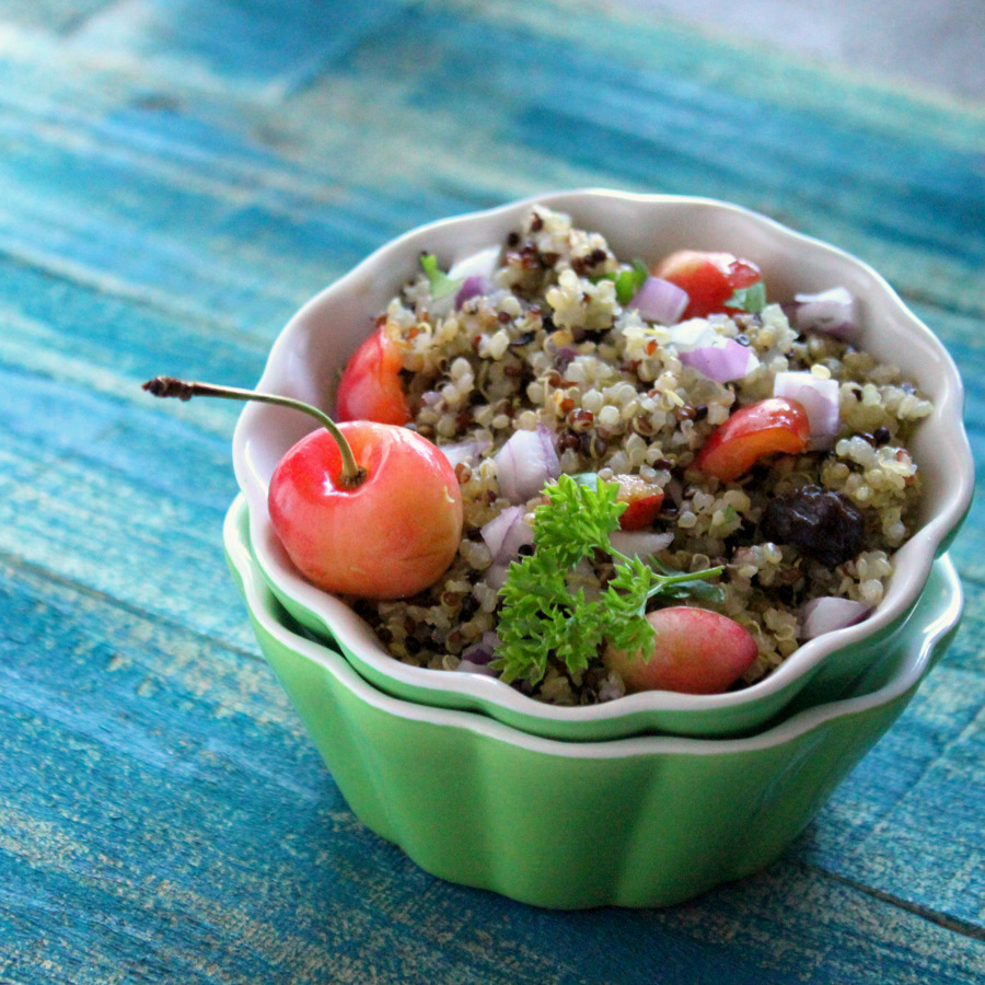 Toasted Rainbow Quinoa Salad with Rainier Cherries, Raisins, Red onion | Vegan Richa