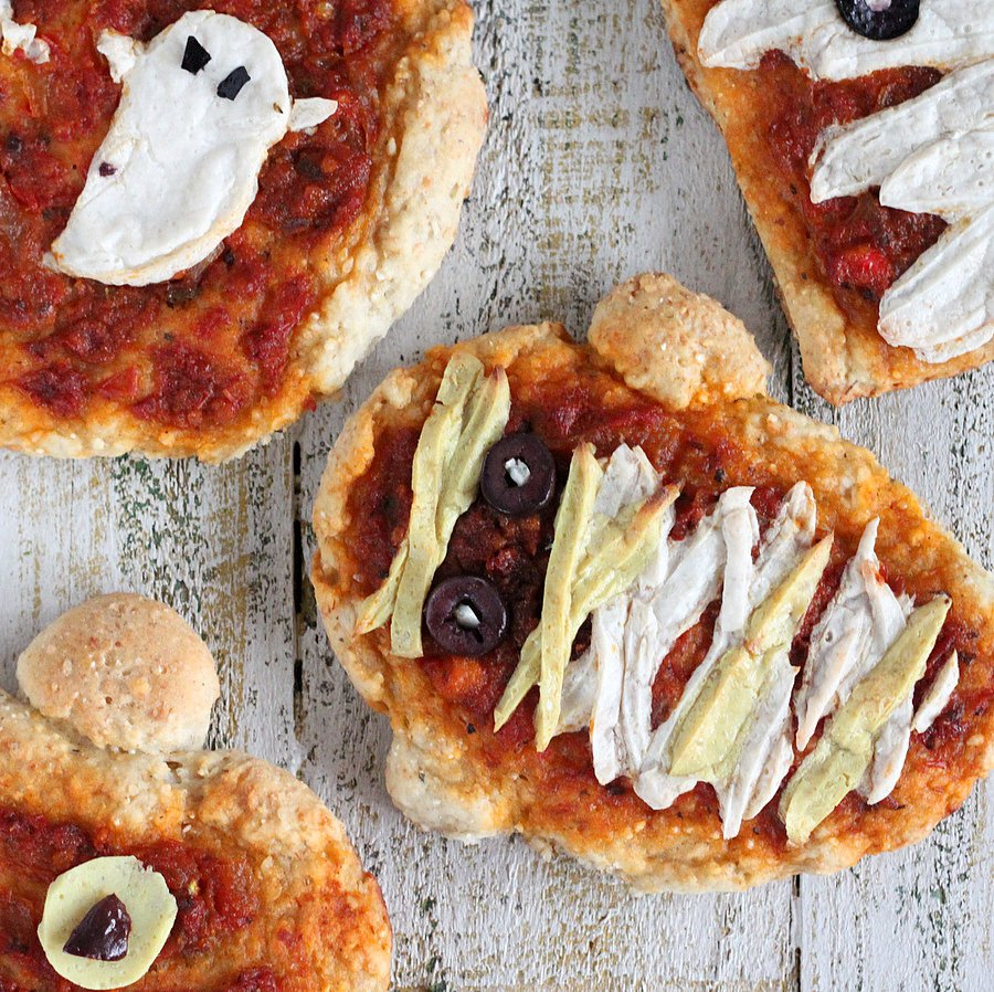 Halloween Pizzas Ghosts Pumpkins And Mummies With Coconut Milk