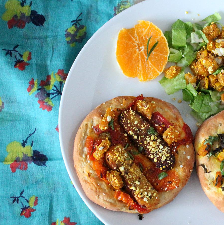 Dynamic Orange Tomato Dressing Video Raw Vegan Recipe: Chopped: Popcorn Crusted Butternut Squash, Kale, Tempeh