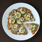 Deconstructed Gobi Paratha (Cauliflower Crust) Pizza with Cucumber and Yogurt Raita. vegan glutenfree grainfree recipe