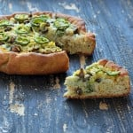 Deep Dish Cheddar Jalapeno Popper Pizza with White garlic sauce, Mushrooms, Kale, Cheddar on Semolina Wheat crust. vegan recipe