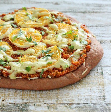 Quinoa Sloppy Joes Pizza with Rye Crust, Orange slices, Jalapeno Aioli. vegan recipe