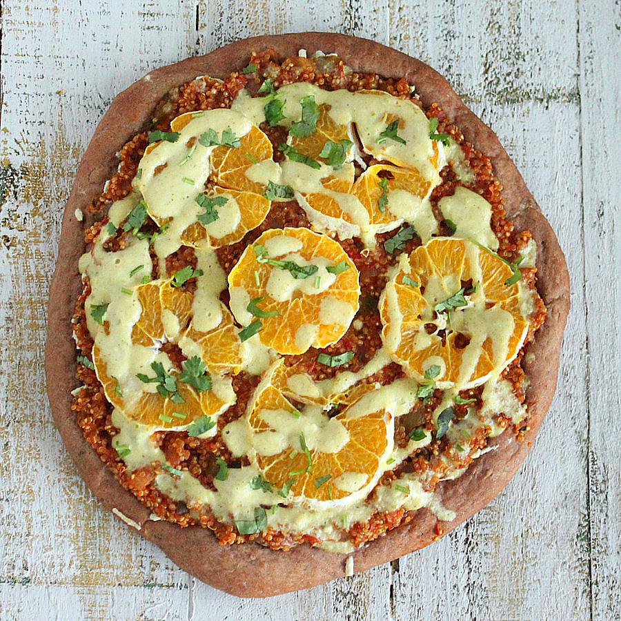 Quinoa Sloppy Joes Pizza with Rye Crust, Orange slices, Jalapeno Aioli |VeganRicha.com #vegan #pizza