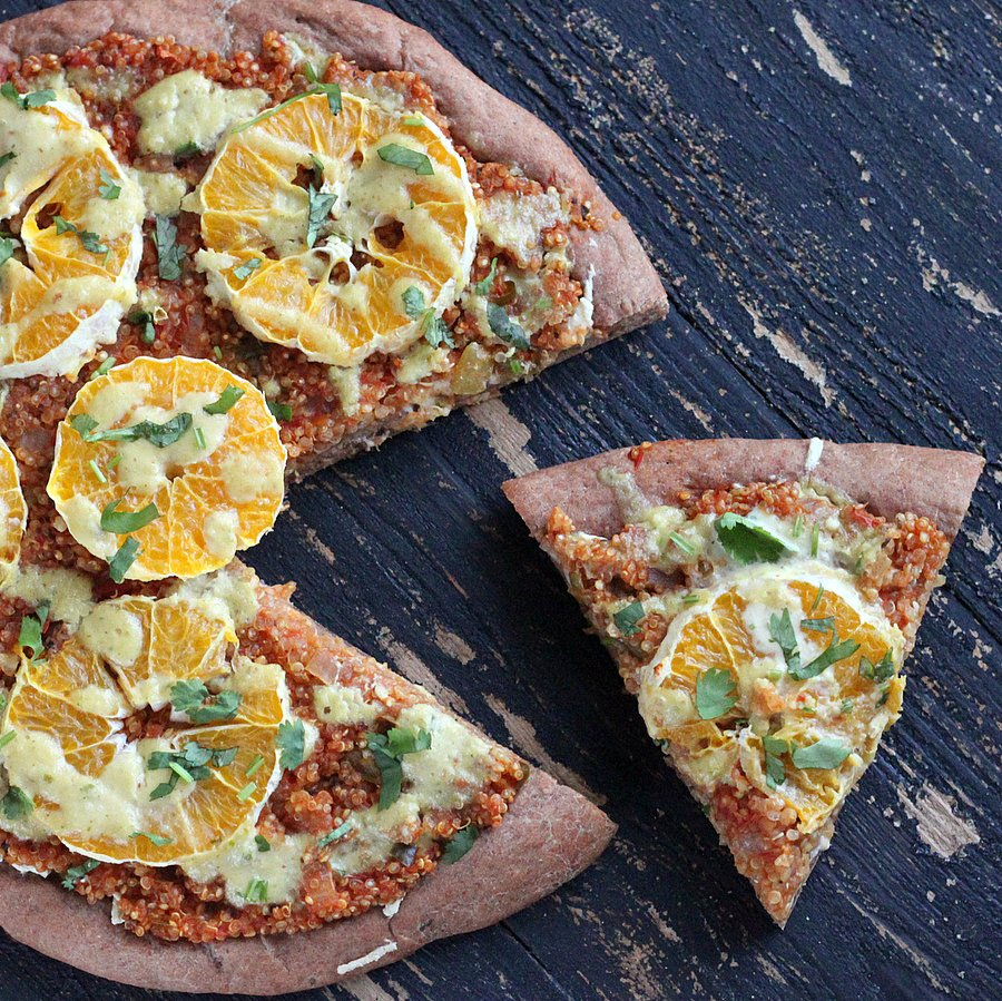 Quinoa Sloppy Joes Pizza with Rye Crust, Orange slices, Jalapeno Aioli |VeganRicha.com #vegan #pizza