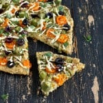 Millet Chickpea Kale Quiche Pizza topped with Okra, golden cherry tomatoes, bell peppers. glutenfree vegan recipe