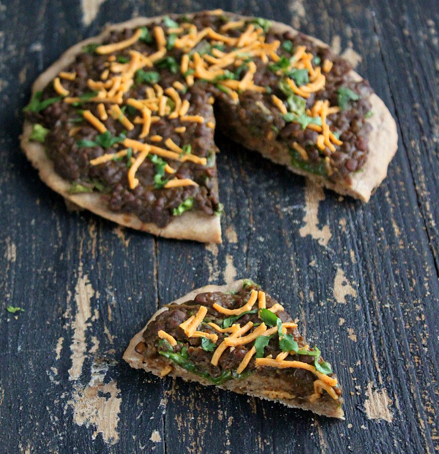 Missir Wot Pizza - Ethiopian Red lentil stew and Kale on Gluten free teff pizza crust. Gluten-free Pizza with ethiopian lentil topping. | VeganRicha.com #vegan #glutenfree #recipe