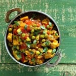 Mutter 'Paneer' – Spiced Peas and Tempeh curry. Glutenfree recipe, and Vegan Indian Cooking Book giveaway.
