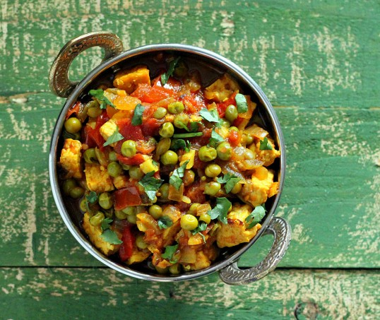 Vegan Mutter Paneer – Spiced Peas and Tempeh curry from Vegan Indian Cooking Book