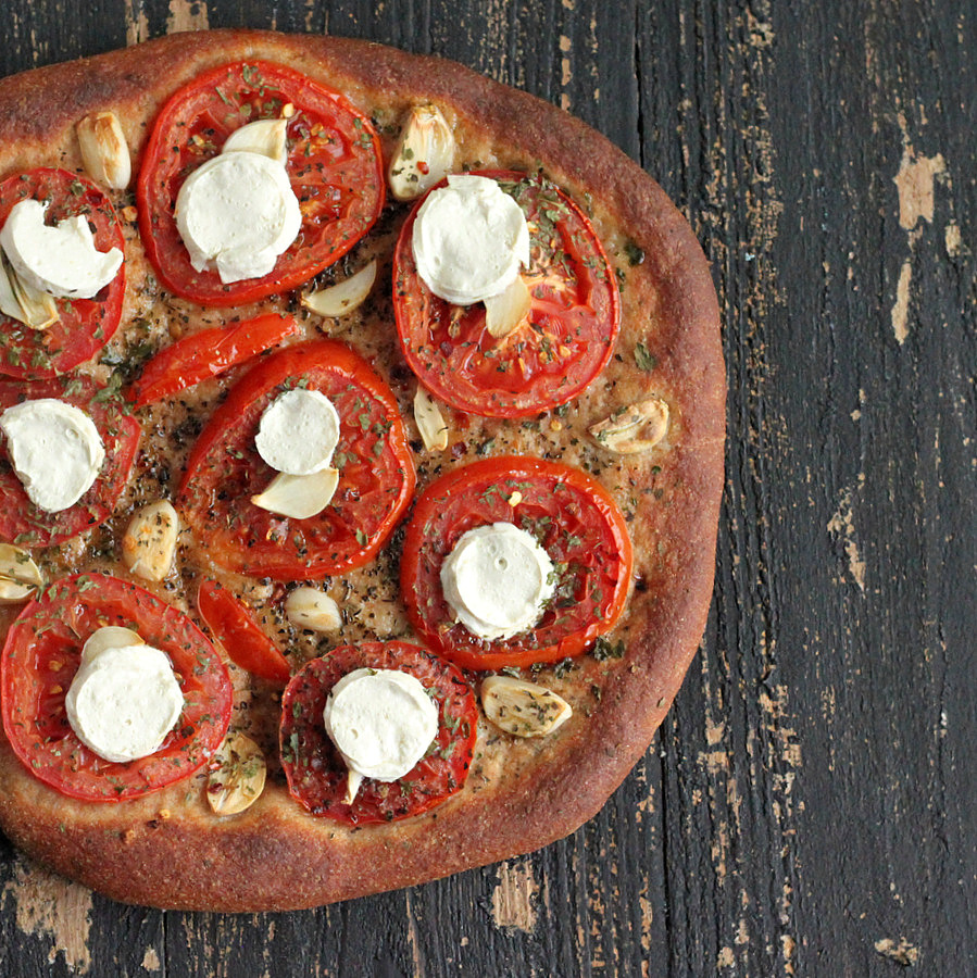 Tomato Garlic Coconut Mozzarella Pizza on Wheat Crust | Vegan Richa